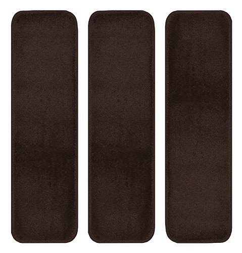Stair Tread Treads Indoor 7 inch x 24 inch Machine Washable Skid Slip Resistant Carpet Stair Tread Treads Euro Collection (Set of 3, Brown)