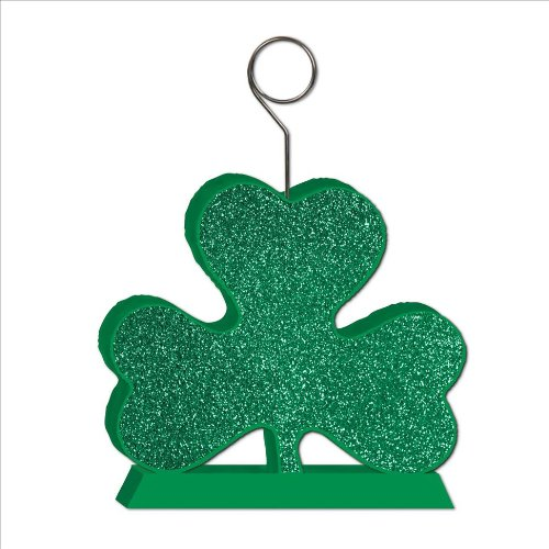Glittered Shamrock Photo/Balloon Holder Party Accessory (1 count) (1/Pkg)