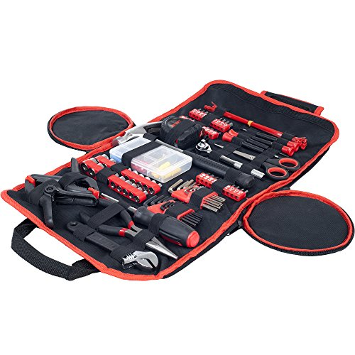 Household Hand Tools, 86 Piece Tool Set With Roll-Up Bag by Stalwart, (Hammer, Wrench Set, Screwdriver Set, Pliers) - Great for the Home or Car ()
