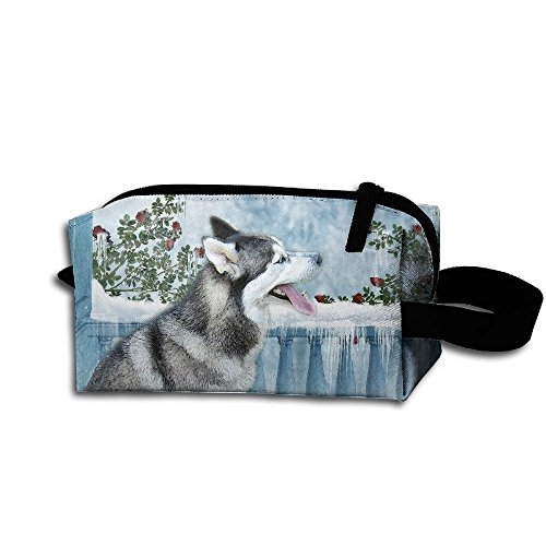 (Siberian-Husky Portable Pencil Bag Coin Purse Pouch Stationery Storage Organizer Case Cosmetic Makeup Brush Holder With Durable Zipper For Students Office)