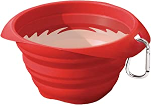 Kurgo Collapsible & Portable Travel Dog Bowl for Food & Water | Portable Water for Dogs | Food Grade Silicone Collapsible Dog Bowl | Pet Travel Accessories | BPA Free | Holdsup to 24 oz (Red)