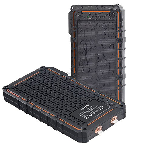 Solar Charger WBPINE 13500mAh Portable Solar Power Bank Dual USB Solar Phone Charger Waterproof with 2LED Light Cellphone Hiking Camping and More(Orange)