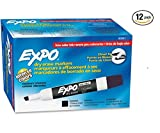 Expo 80001 Low Odor Chisel Point Dry Erase Markers, Black, 12 Units per Box, Pack of 12 Boxes, 144 Markers Total