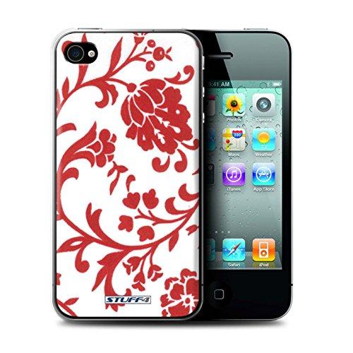 Coque de Stuff4 / Coque pour Apple iPhone 4/4S / Fleurs Rouge Design / Motif floral Collection / par Deb Strain / Penny Lane Publishing, Inc.