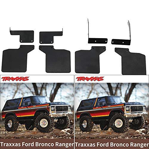 Hisoul for 1/10 RC Traxxas TRX-4 Fender Ford Bronco Ranger DJC-9079 Mud Flaps Rubber Fender (Black)