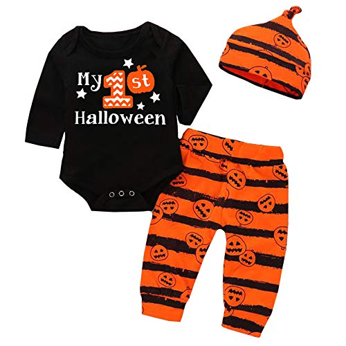 Halloween Baby Boy Outfits My First Halloween Romper and Pumpkin Pants and Hat 3pcs Clothes Set 6-9 Months ()