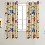BGment Kids Blackout Curtains for Bedroom - Grommet Thermal Insulated Room Darkening Variety Animal Patterns Printed Curtains for Nursery, Set of 2 Panels (42 x 63 Inch, Beige Zoo)