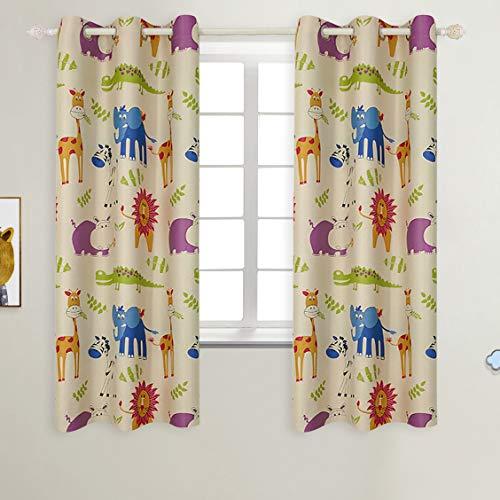 Curtain Infant - BGment Kids Blackout Curtains - Grommet Thermal Insulated Room Darkening Printed Animal Zoo Patterns Nursery and Kids Bedroom Curtains, Set of 2 Curtain Panels (42 x 63 Inch, Beige Zoo)