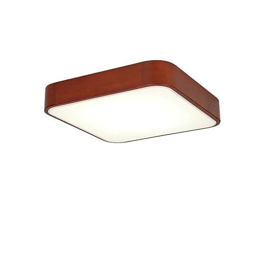 AILI JIAHONG Lámpara de Techo Cuadrada de Madera Maciza Ultrafina, luz Alta a través de la