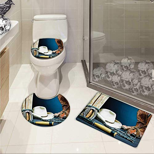 - Western Bathroom Toilet mat Set Equestrian Backdrop Antique Horseshoe Hat Cowboy Texas Photography U-Shaped Toilet Mat Blue Brown Beige