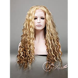 Soogo Long Dark Blonde and Brown Ombre Wig for Women Long Wavy Blonde Wig Lace Front Wig Heat Resistant Japanese Synthetic Fiber Soft Natural Hair Looks