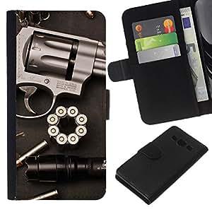 KingStore / Leather Etui en cuir / Samsung Galaxy A3 / Balas Pistola Revolver Clean Guerra Pistola
