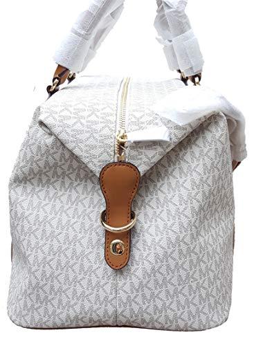 3f8fd689748eb Michael Kors LG large travel bag weekender purse MK vanilla acorn brown