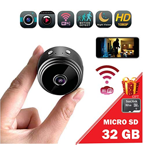 Promo: Mini spy Camera Wireless/WiFi HD 1080P/ Portable Home Security Camera/Gift Memory Micro SD 32gb/ with Motion Detection & Alert/Sound & Video/Night Vision for iPhone/Android Phone/iPad/PC