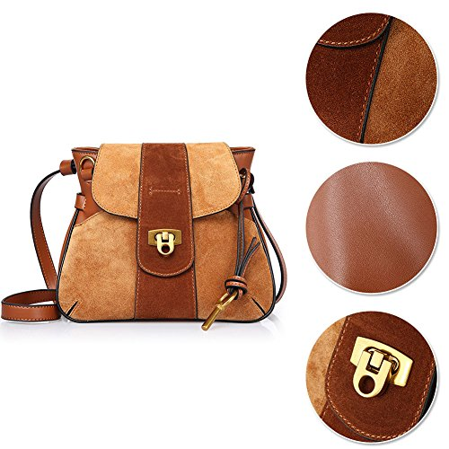 vachette à en pour sac Bleu les sac Bag Lock Gris femmes cuir Saddle Yoome à Nubuck Sac bandoulière en cuir main de Vintage gwFTqwx
