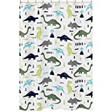 Sweet Jojo Designs Blue and Green Modern Dinosaur Children's Kids Bathroom Fabric Bath Shower Curtain