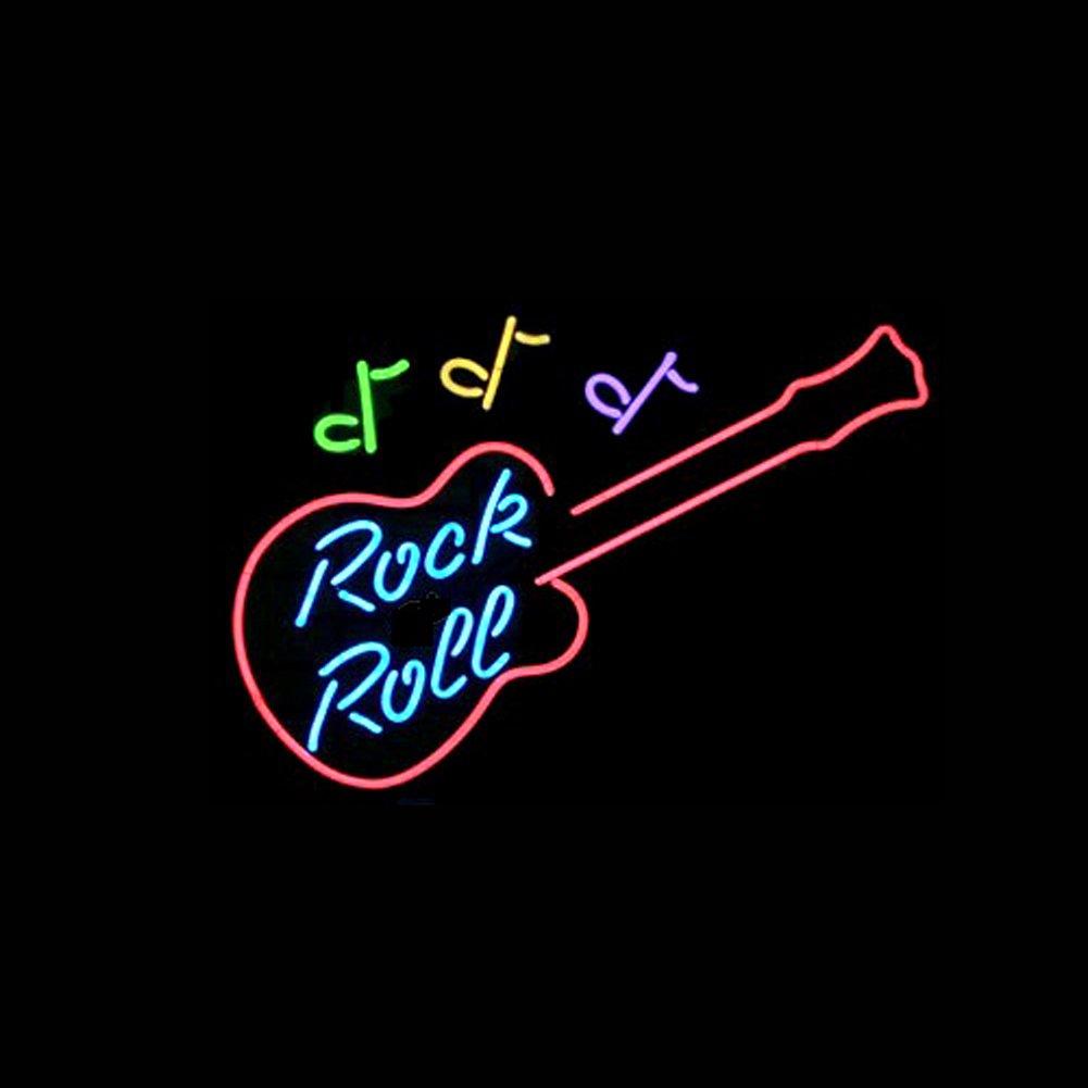 LiQi ROCK N ROLL Real Glass Neon Light Sign Home Beer Bar Pub Recreation Room Game Room Windows Garage Wall Sign (17''×14'' Large)