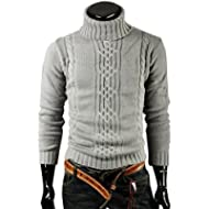 Mens Sweater,Haoricu Autumn Winter Mens Elegant Long Sleeve Slim Fit Knitwear Warm Turtleneck...