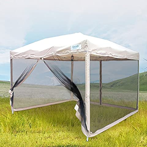 Peaktop Easy Pop Up Canopy Tent with Mesh Side Walls 8-Feet x 8-Feet Tan (Pop Up Shelter Side)