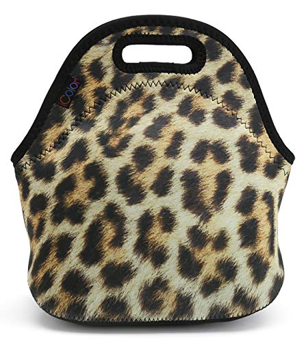 Leopard Print Insulated Lunch Tote Bag Cooler Box Neoprene Lunchbox for School Work