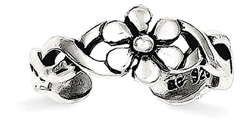 Floral Toe Ring (ICE CARATS 925 Sterling Silver Floral Adjustable Cute Toe Ring Set Fine Jewelry Gift Valentine Day Set For Women Heart)