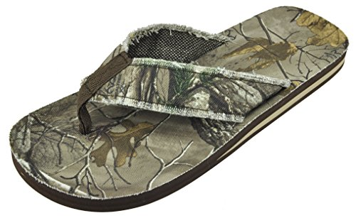 Realtree Mens Skogsarbetare Xtra Kamouflage Flip Flop Sandal (stor, Brun Camo)