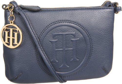 Tommy Hilfiger Trapunto Logo Convertible Cross Body,Navy,One Size, Bags Central