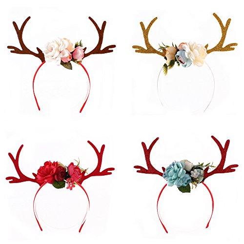 (FUMUD DIY Christmas Headband Antlers Ear Flowers Christmas Party Hair Accessories Deer Hair Buckle Decoration)