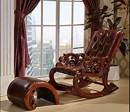 Shilpi Hand Carved Rocking Chair Pure Teak Wood Amazon In Home