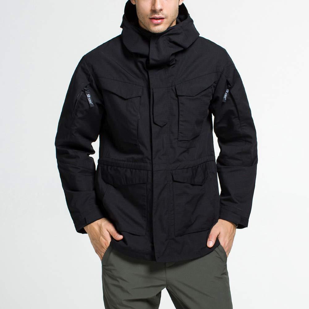 Men's Windproof Warm Outdoor Hooded Jacket Uniform Velvet Overalls Waterproof Casual Sports Coat Black