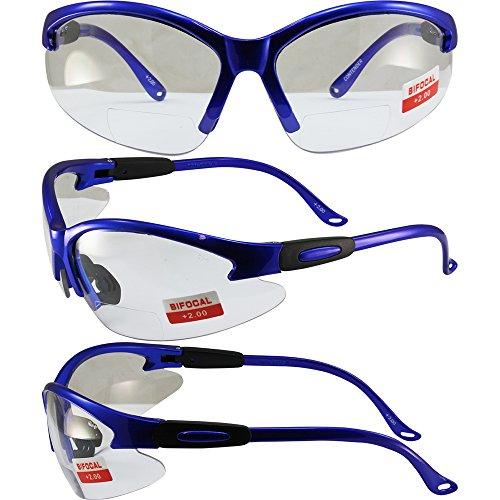 (Global Vision Cougar Bifocal Safety Glasses Blue Frame Clear 2.0x Magnification Lens ANSI)