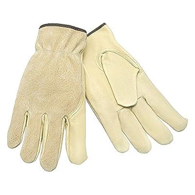 MCR Safety 3405L Grain Pigskin Driver Premium Grade Gloves with Split Pigskin Back and keystone thumb, Cream/Tan, Large, 1-Pair