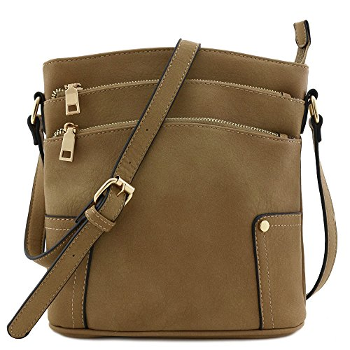 Triple Zip Pocket Medium Crossbody Bag Stone (Leather Stone Min)