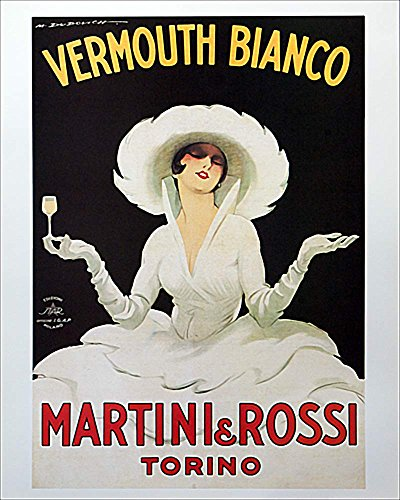 Martini & Rossi - Vermouth Bianco by Marcello Dudovich. Vintage Advertising Reproduction Art Print Poster (16 x 20)