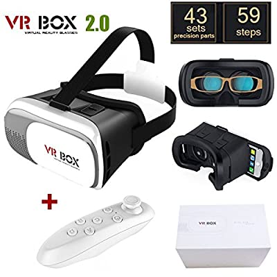 "Morovan Original Google Cardboard VR BOX II 2.0 VR Virtual Reality 3D Glasses for 4""-6"" Smartphone with White Bluetooth Gamepad"