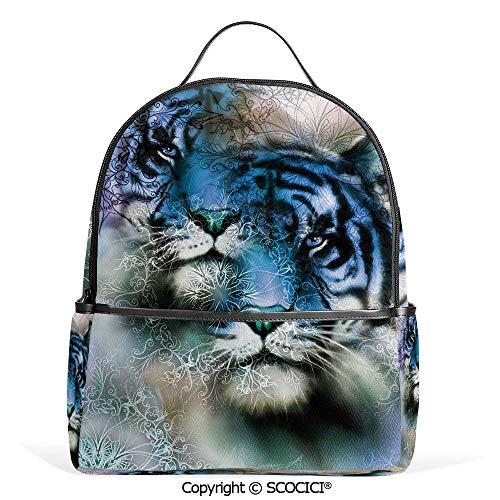 Lightweight Chic Bookbag Two Tiger Safari Cat African Wild Furious Life Big Animals Art Print,Blue Black and White,Satchel Travel Bag Daypack