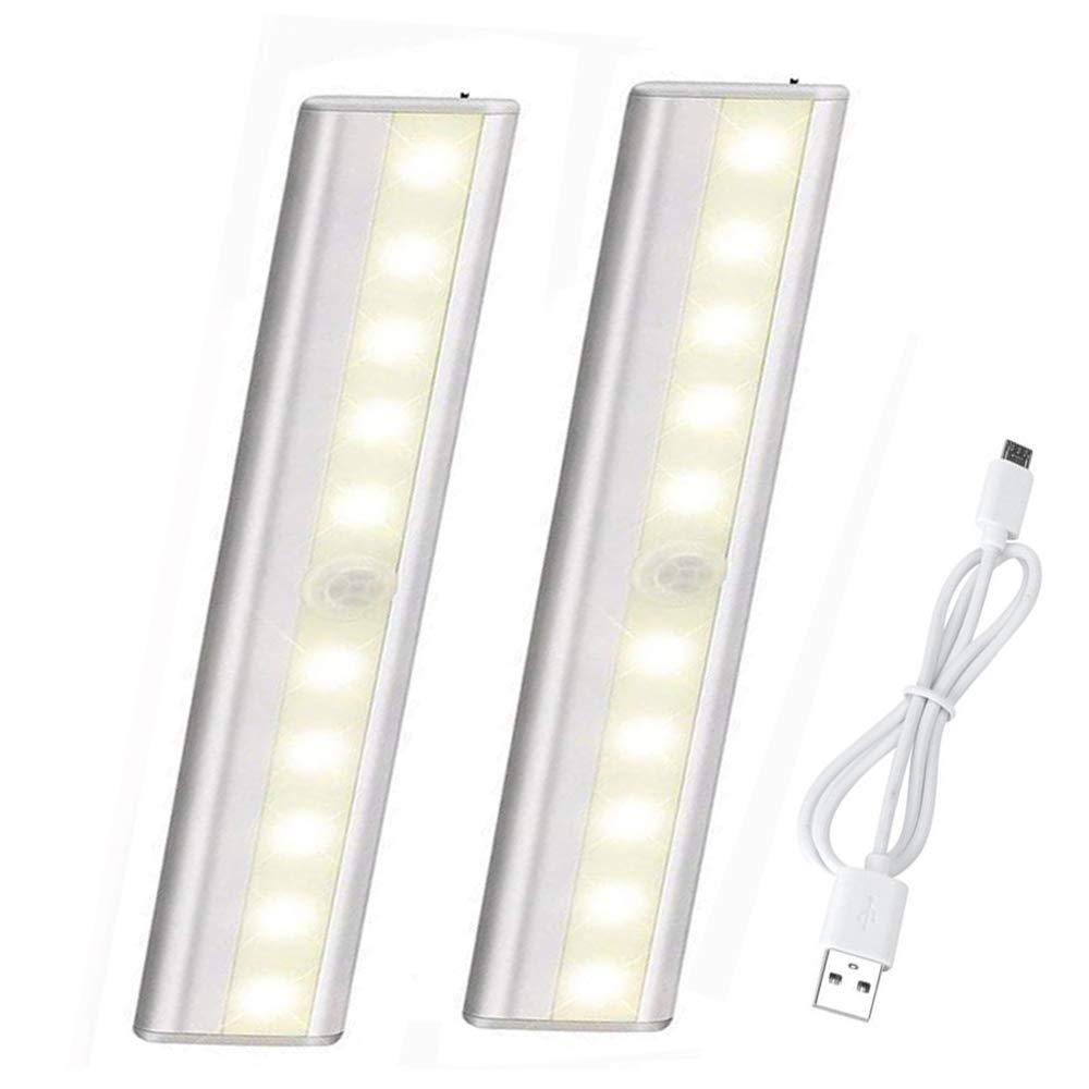 Wireless Portable LED Under Cabinet-Lighting, Auto On/Off Sensing Night Lights, Magnetic Stick-on Anywhere USB Rechargeable 10 LEDs Light Bar for Kitchen Counter Pantry Stairs, 2 Pack Warm White