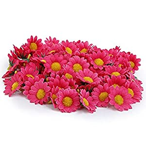 100pcs Rose Artificial Flowers Heads Gerbera Daisy Flowers Heads Fake Silk sun Flower Sunflowers Heads for DIY Wedding Party 106