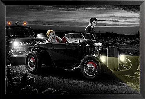 - Buyartforless IF SP 3100 36x24 1.25 Black Framed Joy Ride by Helen Flint 36X24 Elvis Presley Marilyn Monroe Art Print Poster Icons