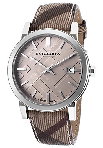 Burberry Embossed Beige Dial Stainless Steel Leather Quartz Ladies Watch BU9029
