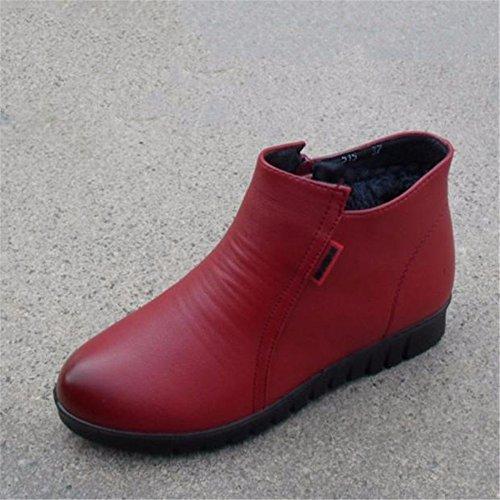 Más Terciopelo Cálido Zapatos Suave Algodón Botas Resbaladiza Gruesas Moda Red Hxvu56546 Wine De Invierno WqCpnYMwa