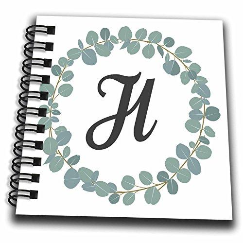 3dRose Janna Salak Designs Monogram Collection - Letter H Monogram Eucalyptus Leaves Wreath Elegant Greenery - Mini Notepad 4 x 4 inch (db_261590_3) ()