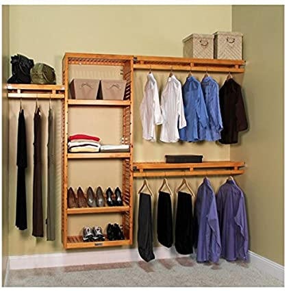 Superbe John Louis Home Collection 12 Inch Deep Simplicity Wood Closet System Honey  Maple