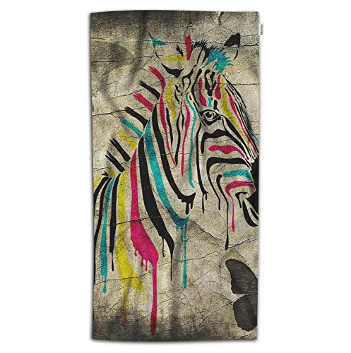(Moslion Zebra Bath Towel Vintage Rainbow Color Striped Zebra Butterfly on Retro Wall Towel Soft Microfiber Baby Hand Beach Towel for Kids Bathroom 32x64 Inch Brown)