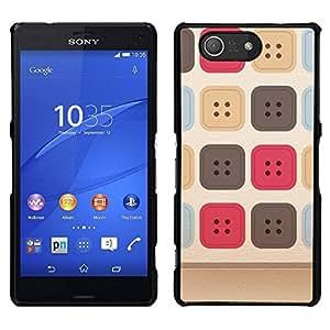 EJOY---Cubierta de la caja de protección para la piel dura ** Sony Xperia Z3 Compact ** --Costura del patrón uniforme beige