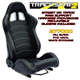 Performance World 277000 TrackSeat2 Racing Black PVC Vinyl Seats. Pair