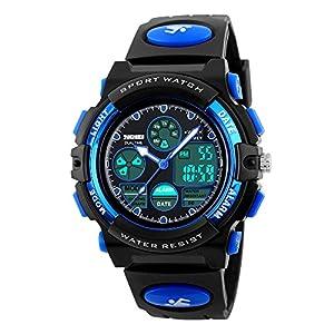 Watch,Kids Watch,Digital Outdoor Waterproof Watches Analog Quartz Wristwatch with Black Strap