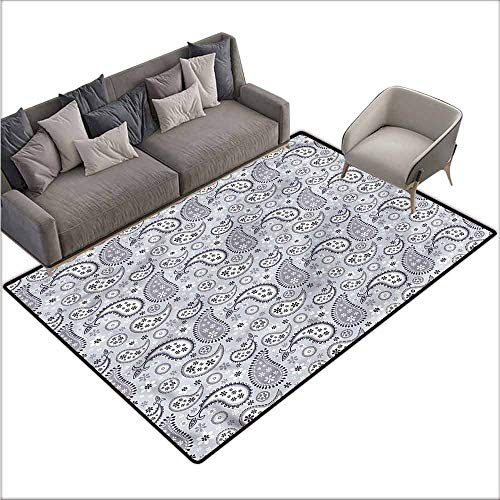 - Rug Bathroom Mat Paisley,Flowers with Snowflakes 60
