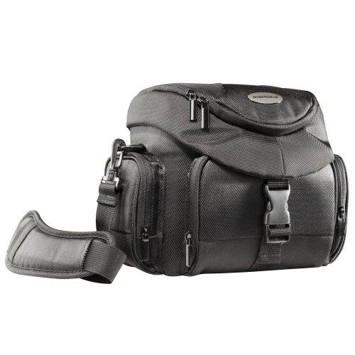 Mantona Premium Biker SLR-Kameratasche (Schnellzugriff, Schultergurt, Regenüberzug und Zubehörfächern) schwarz
