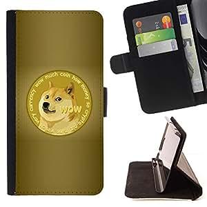 Momo Phone Case / Flip Funda de Cuero Case Cover - DIVERTIDA - DOGE WOW SHIBA MUCHO IMPRESIONANTE - Samsung Galaxy Note 4 IV